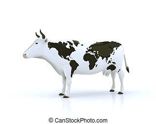 cow with black spots shaped like a globe