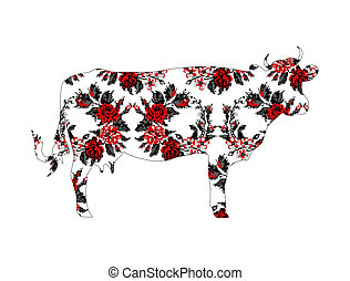 Cow with circle bouquet of flowers. - Silhouette of cow with...