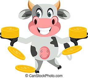 Cow with coins, illustration, vector on white background.