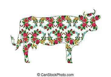 Cow with color circle bouquet of flowers. - Silhouette of...