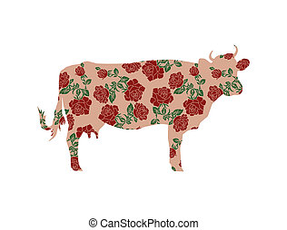 Cow with color image of flowers. - Silhouette of cow with...