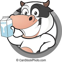 Cow with milk box in round frame