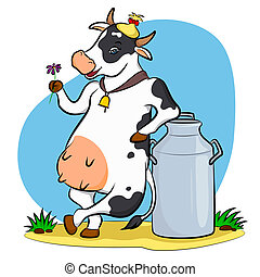 spotted cow with a flower relying on a milk can