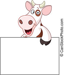 Cow with sign - Smiling cow holding a blank sign