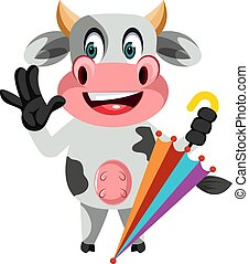 Cow with umbrella, illustration, vector on white background.