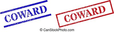 Grunge COWARD stamp seals in red and blue colors. Stamps have rubber style. Vector rubber imitations with COWARD caption inside rectangle frame, or parallel lines. Design style uses dust effect.