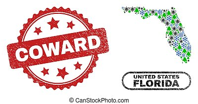 Vector pandemic Christmas collage Florida State map and Coward scratched stamp print. Coward watermark uses rosette shape and red color. Collage Florida State map is constructed from scattered Covid,