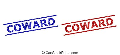 Blue and red COWARD watermarks on a white background. Flat vector scratched watermarks with COWARD text inside parallel lines. Watermarks with corroded surface.