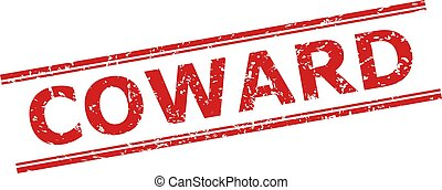 Red COWARD seal stamp on a white background. Flat vector textured seal stamp with COWARD phrase inside double parallel lines. Rubber imitation with scratched surface.