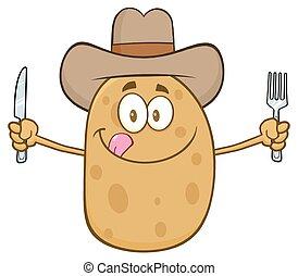 cowboy, aardappel, spotprent, karakter