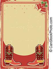 cowboy, abstrakt, stiefeln, hintergrund, weihnachtskarte
