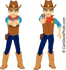 Young cowboy on two poses aiming revolver holding gun with both hands and with only right hand