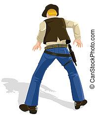 cowboy, alatt, párbajozik, helyzet
