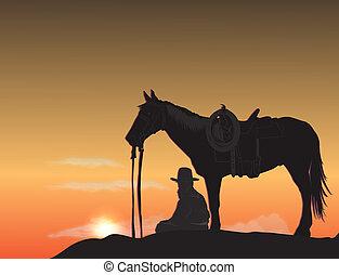 cowboy, an, sonnenuntergang