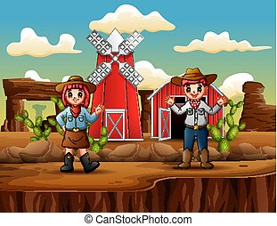 Cowboy and cowgirl in front farm western Landscape
