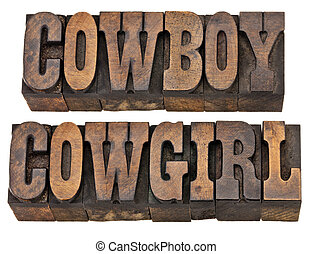 cowboy and cowgirl isolated words - cowboy and cowgirl -...