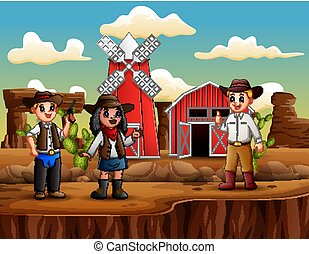 Cowboy and cowgirl on the background of farm