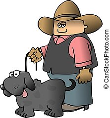 This illustration depicts a cowboy with a dog on a leash.