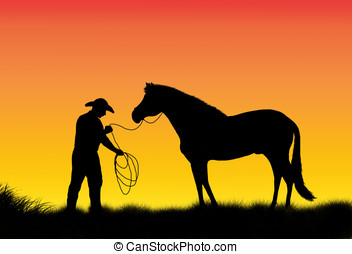 cowboy and horse - illustration, sunset and silhouette of a...