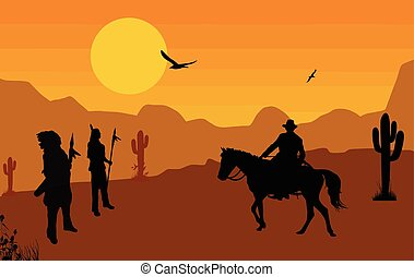 Cowboy and native american indians on wild west at orange...
