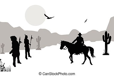 Cowboy and native american indians on wild west, background...