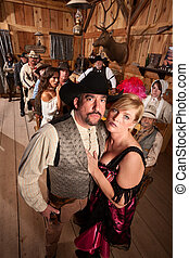 Cowboy and Prostitute in Saloon