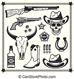 Cowboy and western attributes vector black objects