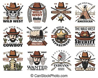 Cowboy and western sheriff skulls. Wild West icons