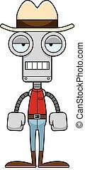 cowboy, annoiato, cartone animato, robot