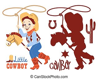 Cowboy baby birthday party set. Western elements set isolated