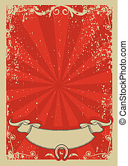Cowboy background for text. Vector red graphic poster