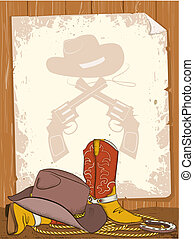 Cowboy background with American boots and old paper for text...