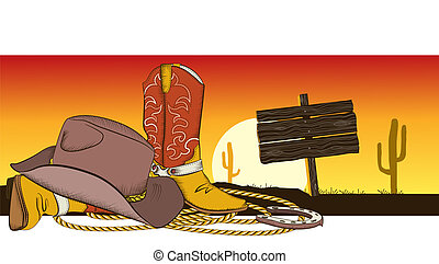 Cowboy background with american clothes.Desert landscape