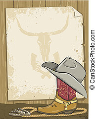 Cowboy background with boot and paper for text.