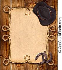 cowboy background with rope frame and western clothes for...