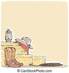 cowboy background with western boots and west hat.Hand draw...