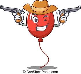 Cowboy balloon character cartoon style