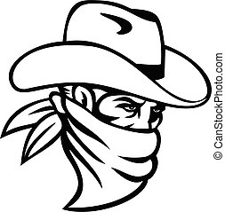 Cowboy Bandit or Outlaw Wearing Face Mask Side View Mascot ...