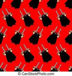Cowboy Bandit pattern seamless. Wild West gunfighter background. Western ornament
