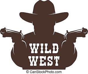 Cowboy bandit with guns stencil. Western gunfighter ...