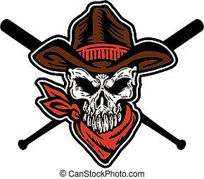 cowboy, baseball, totenschädel, maskottchen