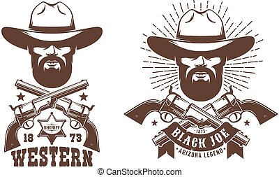 Cowboy bearded in hat with crossed guns retro logo