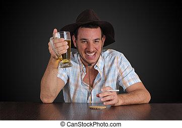cowboy, bier hat