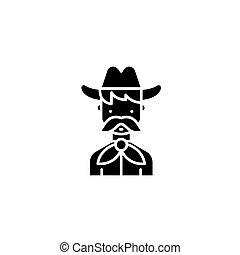 Cowboy black icon concept. Cowboy flat  vector symbol, sign, illustration.