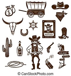 Cowboy Black White Icons Set - Cowboy black white icons set ...