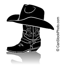 Cowboy boot and western hat. Black graphic image on white background