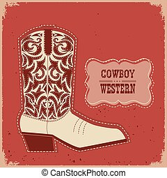 Cowboy boot card background.