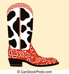Cowboy boot decoration. Western symbol of shoe isolated