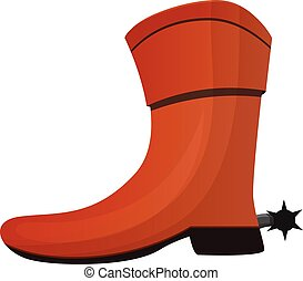 Cowboy boot icon, cartoon style