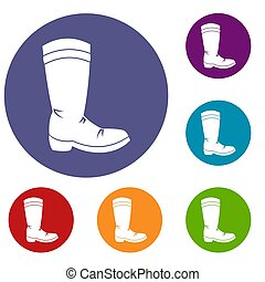 Cowboy boot icons set in flat circle red, blue and green...